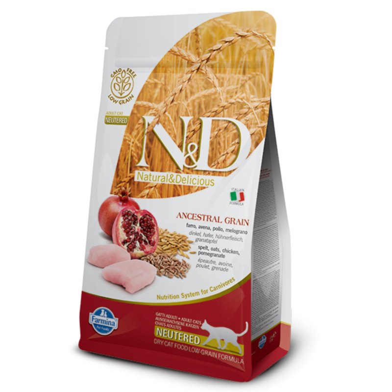 N&D Low Grain cat Neutered Chicken & Pomegranate 5 kg