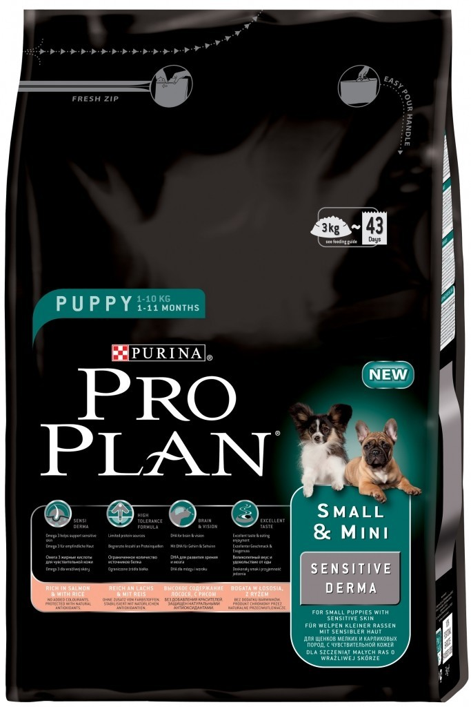 Fotografie Purina Pro Plan dog Puppy Small & Mini Sensitive Derma 3 kg