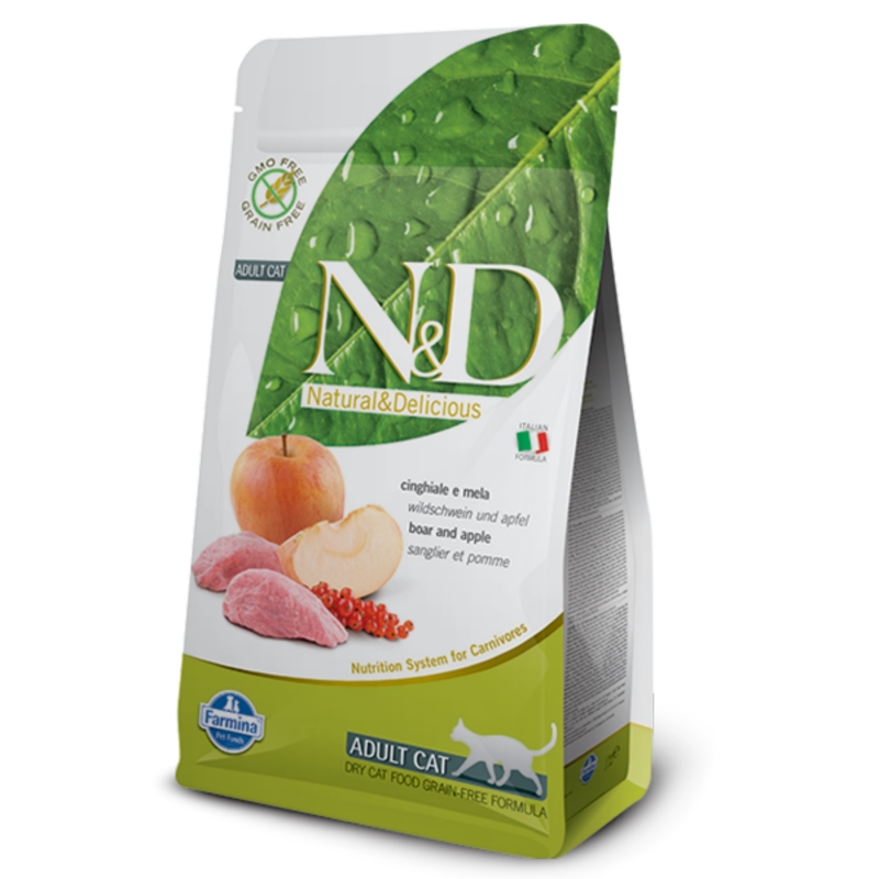 N&D Grain Free cat Adult Boar & Apple 1,5 kg