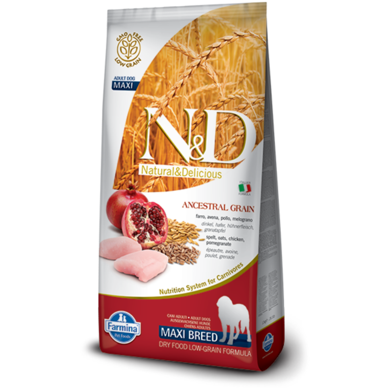 N&D Low Grain dog Adult Maxi Chicken & Pomegranate 12 kg