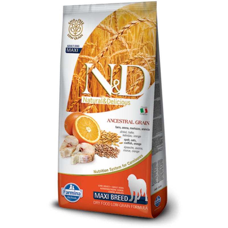 N&D Low Grain dog Adult Maxi Codfish & Orange 12 kg