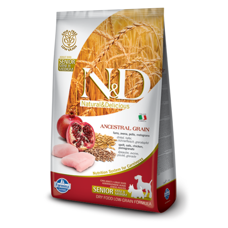 N&D Low Grain dog Senior S/M Chicken & Pomegranate 800 g